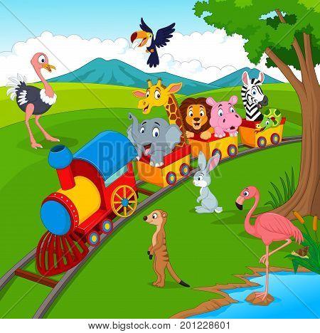 Vector illustration of Cartoon train on railroad with wild animals