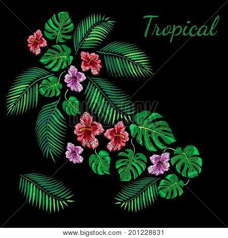 Vector Illustration of Embroidery Seamless Pattern for Design, Background. Floral Ornament for Textile. Fancywork Texture Template