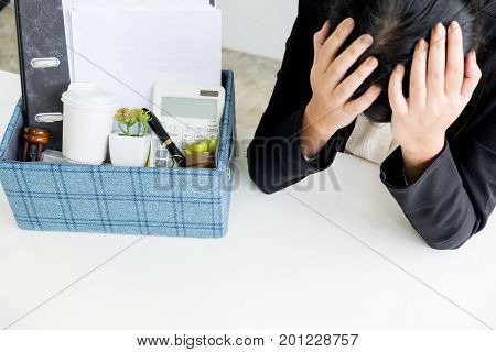 Sadness Pretty Female Office Worker Is Fired Packing Personal Belongings Sitting On Working Desk Fee