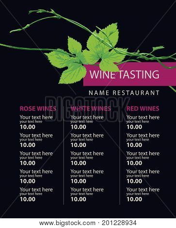 Vector wine list for wine tasting with a branch of grapes and a price list for black background