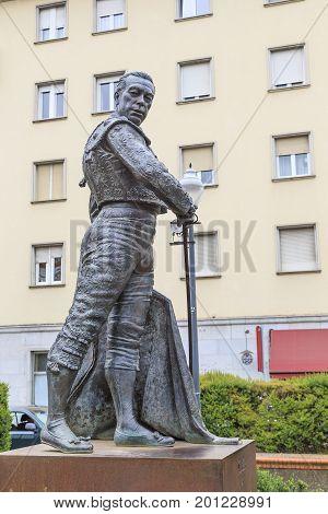 SEVILLE, SPAIN - MAY 21, 2017:This is a monument to the matador Kurro Romero at the bullring Maestranza.