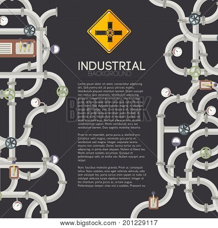 Dark manufacturing pipes background with text steel tubes valves taps and fittings vector illustration