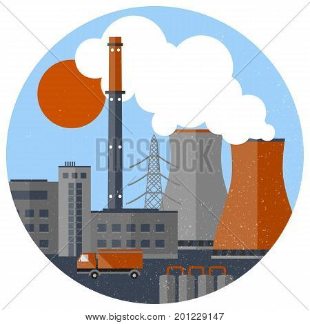 Retro industrial factory template with pipes buildings two chimneys truck harmful emissions in circle isolated vector illustration