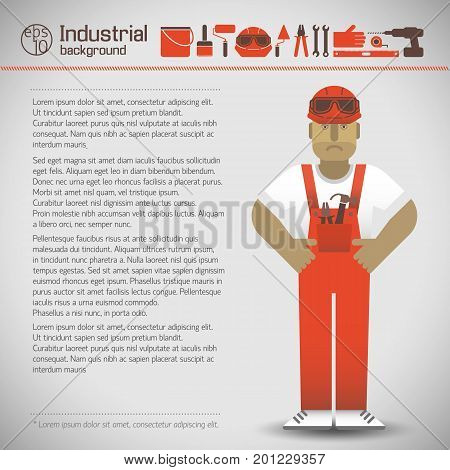 Workman in helmet and red overalls set of industrial tools on light background flat style vector illustration