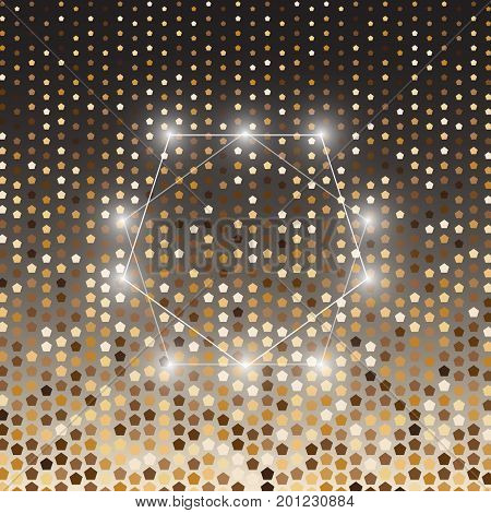 Pentagon gold halftone dot abstract background stock vector