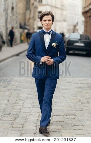 Handsome Groom Portrait, Smiling Groom In Elegant Blue Suit With Boutonniere Posing Outdoors Close-u