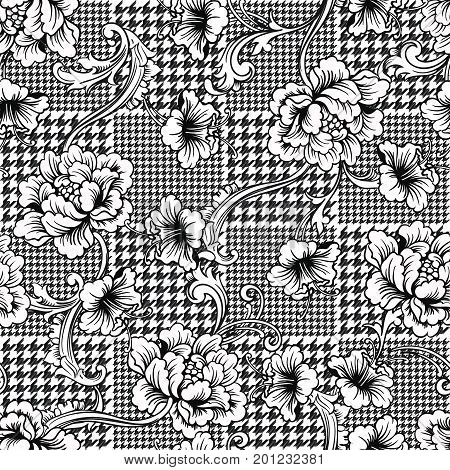 Eclectic fabric seamless black and white pattern. Geometric plaid  floral background with baroque ornament. Vector illustration