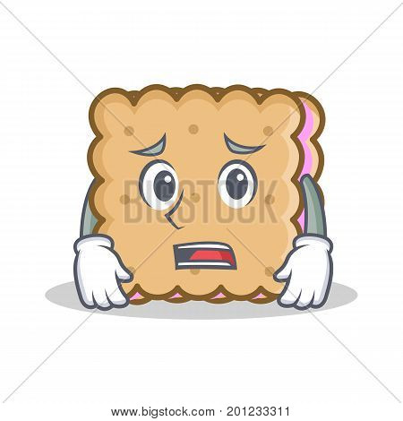 Afraid biscuit cartoon character style vector illustration