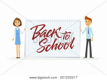 Back to school - modern vector people characters illustration of happy teenage boy, girl at graph ruled notepad sheet with hand written calligraphy lettering. Senior students with large piece of paper
