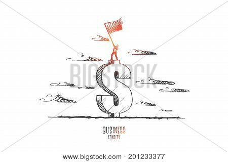 Business concept. Hand drawn man standing on sign of dollar with flag in his hands. before start of new business. Man waving a flag isolated vector illustration.