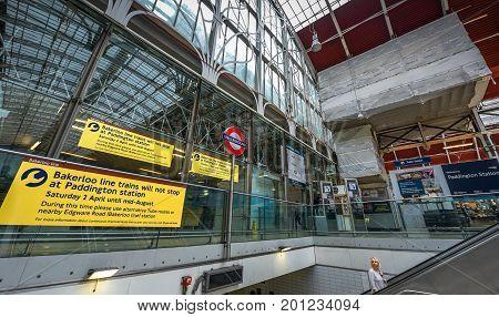 London, the UK - May 2016:  at Paddington railway station