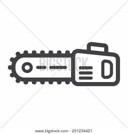 Chainsaw line icon, build and repair, electric saw sign vector graphics, a linear pattern on a white background, eps 10.