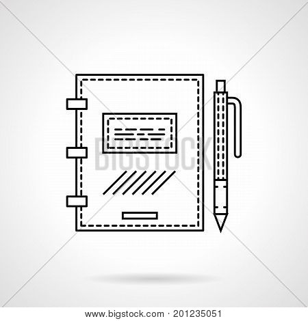 Symbol of closed ring notebook with pen. Accessories for office, busines, school and creators. Flat black line vector icon.
