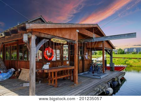 A Seattle Lake Boat House at Sunset