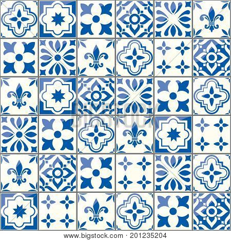 Geometric vector tiles pattern, Portuguese or Spnish seamless blue tile design, Azulejos background