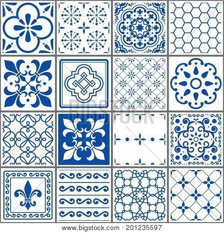 Portuguese tiles pattern, Lisbon seamless indigo blue tiles, Azulejos vintage geometric ceramic design