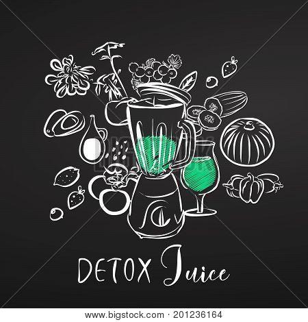 Detox Juice. Vegetables And Mixer. Chalk On Blackboard