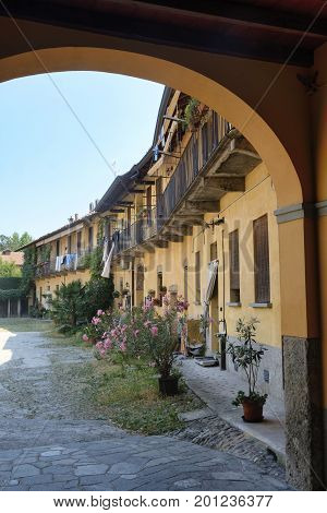Inzago (Milan Lombardy Italy): a typical old courtyard