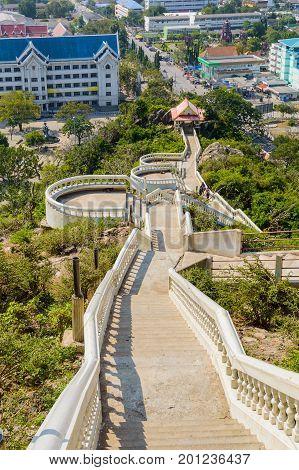 Step Way To Khao Takiab Temple Of Khao Takiab Mountain Also Known As Monkey Mountain Or Chopstick Mo