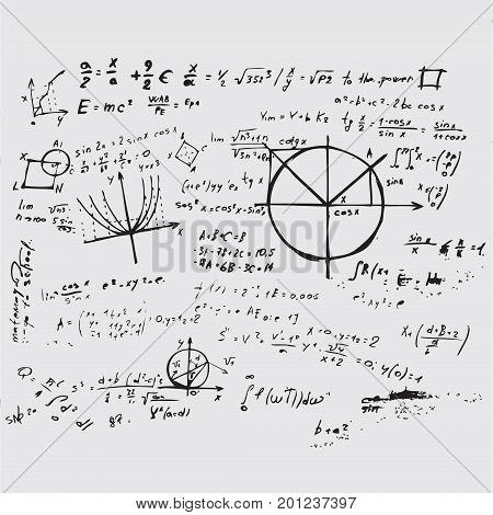 Math education vector with handwritten formulas tasks plots calculations and geometrical figures. Mathematical background handwritten