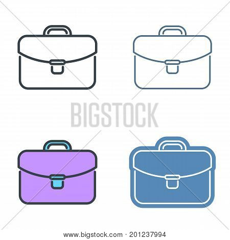 Business case vector outline icon set. Office supply line symbols and pictograms. Vector thin contour infographic elements. Illustrations for web design, presentations, networks.