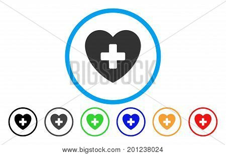 Cardiology rounded icon. Vector illustration style is a flat iconic symbol inside a circle, with black, grey, green, blue, orange, red color versions. Designed for web and software interfaces.