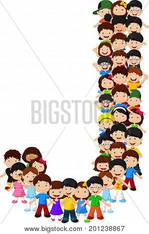 Vector illustration of Little kids form alphabet J