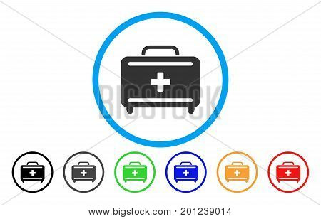 First Aid Toolkit rounded icon. Vector illustration style is a flat iconic symbol inside a circle, with black, grey, green, blue, orange, red color versions. Designed for web and software interfaces.