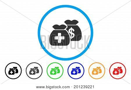 Health Care Funds rounded icon. Vector illustration style is a flat iconic symbol inside a circle, with black, gray, green, blue, orange, red color versions. Designed for web and software interfaces.