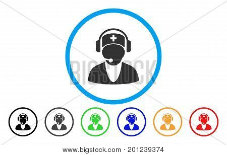 Hospital Receptionist rounded icon. Vector illustration style is a flat iconic symbol inside a circle, with black, grey, green, blue, orange, red color versions.