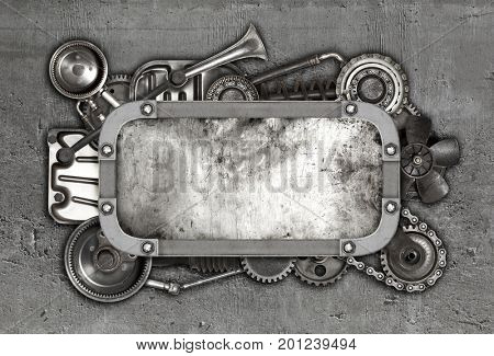 Metal frame and old auto spare parts car on the dark background