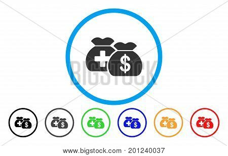 Medical Fund Bags rounded icon. Vector illustration style is a flat iconic symbol inside a circle, with black, gray, green, blue, orange, red color versions. Designed for web and software interfaces.