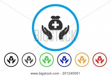 Medical Fund Care Hands rounded icon. Vector illustration style is a flat iconic symbol inside a circle, with black, grey, green, blue, orange, red color versions.