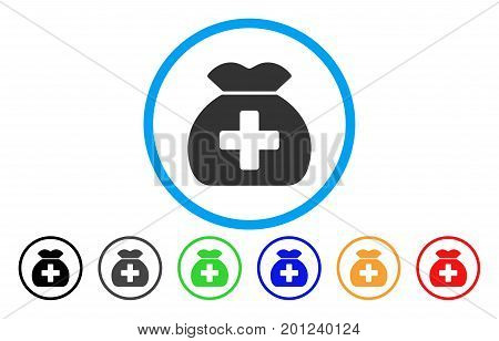Medical Fund Sack rounded icon. Vector illustration style is a flat iconic symbol inside a circle, with black, gray, green, blue, orange, red color versions. Designed for web and software interfaces.