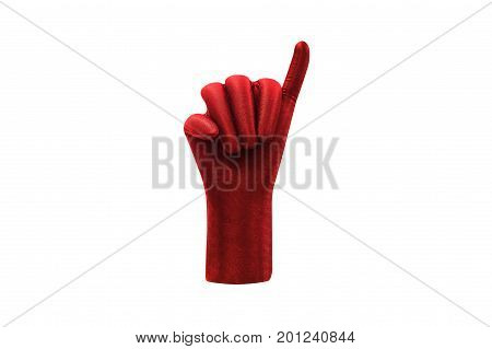 Red hand showing little finger isolated on white background. Promise hand sign. Pinky finger Pinky promise Pinky swear Hand for ring watch jewelry shooting.