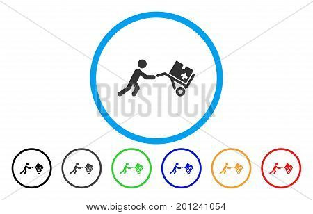 Medical Shopping Cart rounded icon. Vector illustration style is a flat iconic symbol inside a circle, with black, gray, green, blue, orange, red color versions.