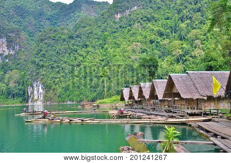 The bamboo raft floating on Cheow Lan Lake in Ratchaprapha Dam at Khao Sok National Park, Surat Thani Province, Thailand.