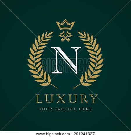 Luxury calligraphic letter N crown and key monogram logo. Laurel elegant beautiful round logo with crown and key. Vector letter emblem N for Royalty, Restaurant, Boutique, Hotel, Heraldic, Jewelry