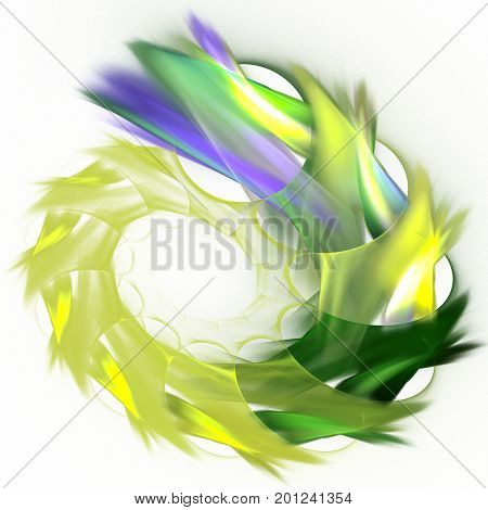 Green and blue fractal spiral symbolizing the growth and prosperity of nature isolated on white background. The concept of ecological health.