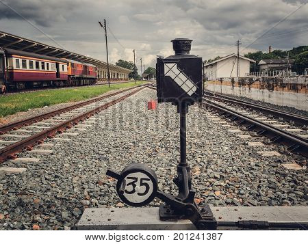 Railway shunt. Railway switch. Railroad shunt. Railroad switch.