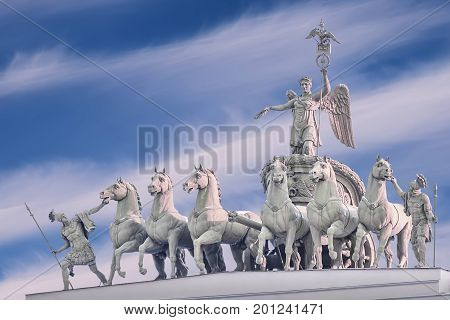 Chariot of Glory on the arch of the General Staff in Saint Petersburg Isolated on white background