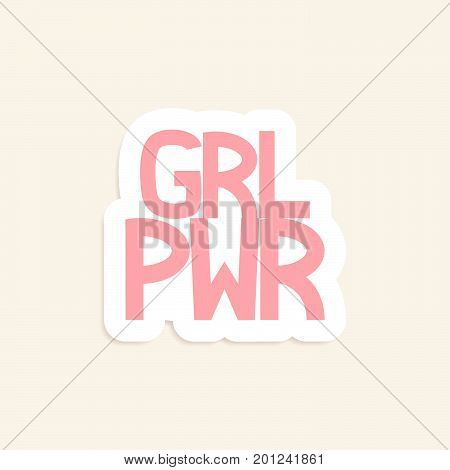 Vector poster Girl Power. Abbreviation on pink background. Good for sticker, patch, pin or t-shirt print.