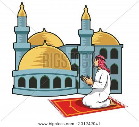Vector illustration of Arabic men praying in front of mosque