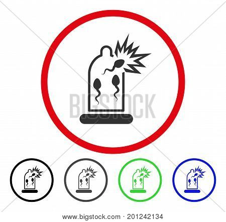 Condom Sperm Damage rounded icon. Vector illustration style is a flat iconic symbol inside a red circle, with black, gray, blue, green versions. Designed for web and software interfaces.