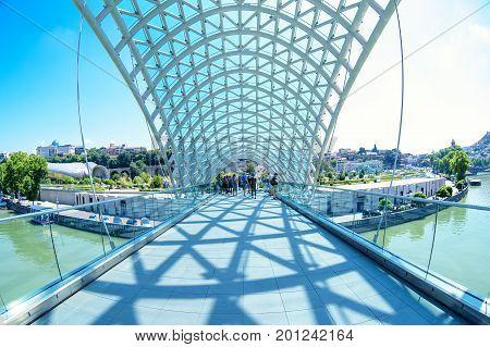 Tbilisi, Georgia -  26, July 2017: The Bridge Of Peace Is Pedest