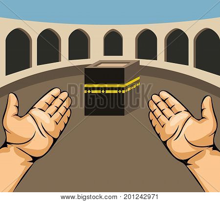 Vector illustration of praying hands on Kaaba