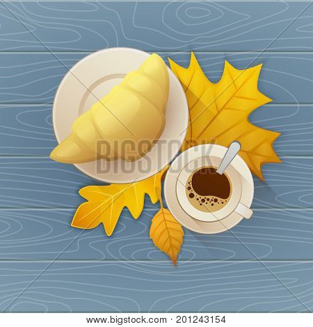 Tasty buttery croissant and cup of hot coffee on old wooden table with autumn leaves. Flat vector illustration