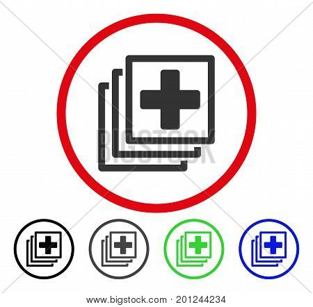 Medical Docs rounded icon. Vector illustration style is a flat iconic symbol inside a red circle, with black, gray, blue, green versions. Designed for web and software interfaces.