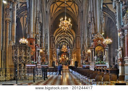 Vienna Austria - April 5 2015: Interior of the St. Stephen's Cathedral in Vienna. Shot taken on April 5th 2015