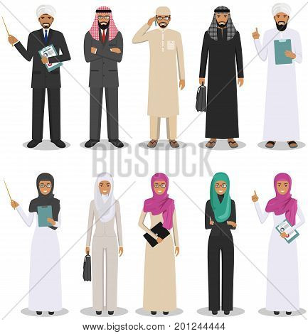 Business concept. Detailed illustration of muslim arabian businessman and businesswoman standing in different positions in flat style. Arab people in traditional islamic clothes.